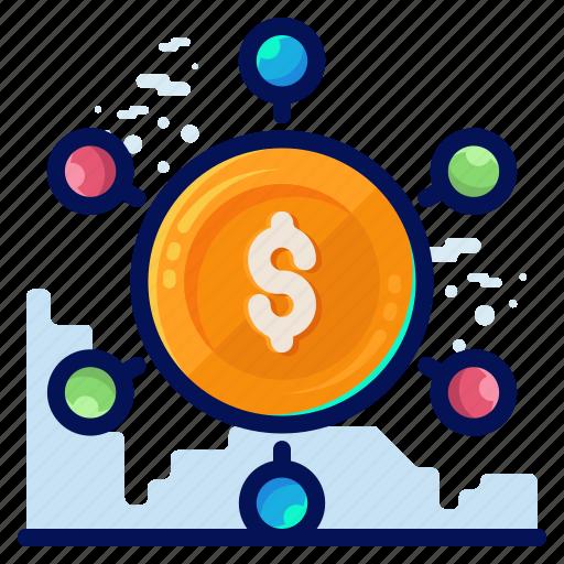business, dollar, finance, money, transfer icon