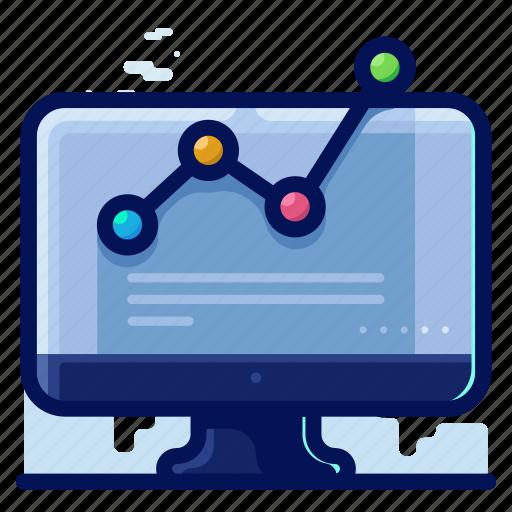 analytics, computer, monitor, statistics icon