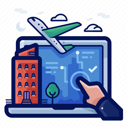 accomodation, booking, holiday, online, vacation icon