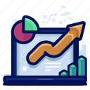 analytics, arrow, chart, statistic icon