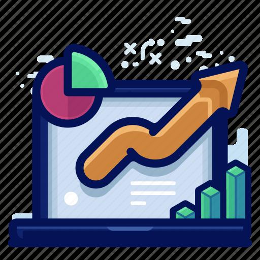 analytics, arrow, chart, statistic icon