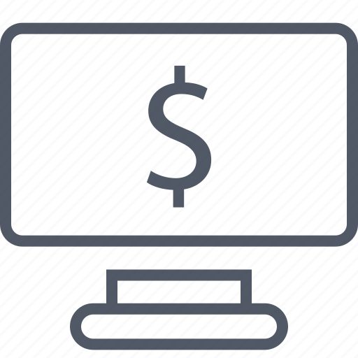 business, dollar, monitor, pc, seo, sign icon