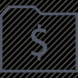 business, dollar, folder, seo, sign icon