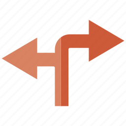 arrow, conjunction, sidetrack icon