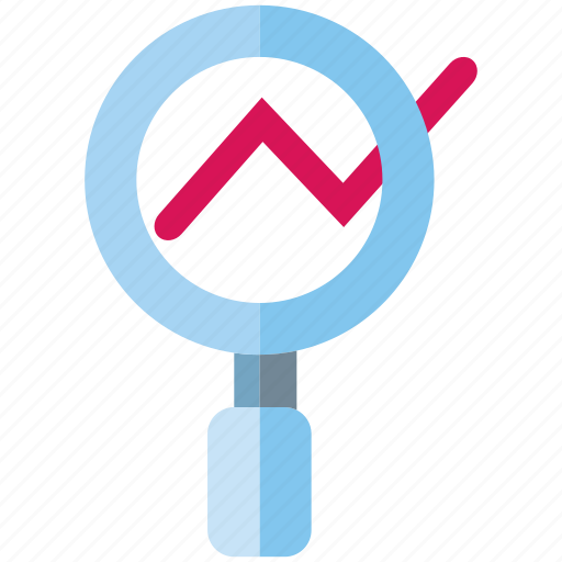 analysis, graph, magnifier glass icon