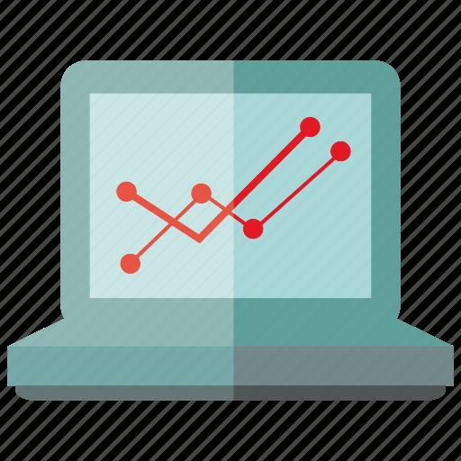 computer, graph, laptop, plot icon