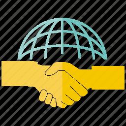 deal, globe, hand, handshake, join icon