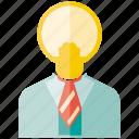 bulb, creative, idea, light, man