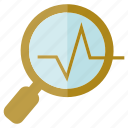 analysis, chart, graph, magnifier glass icon