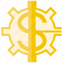 cogwheel, gear, money icon