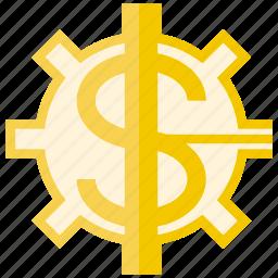 cogwheel, gear, money icon