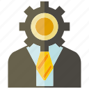 business man, gear, logic, man icon