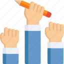 comunications, costumer devices, hands, pencil, support icon