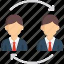 arrows, business, exchange, men, user icon