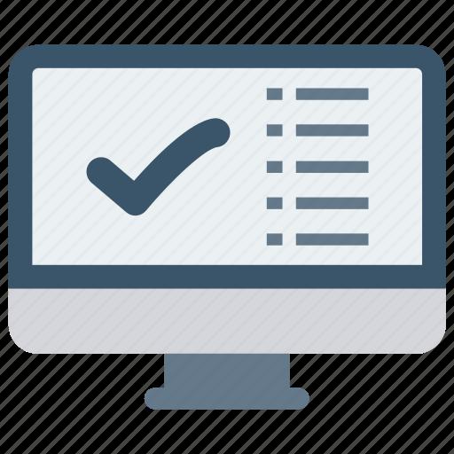 check, list, monitor, screen, tick icon