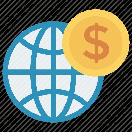 browser, coin, dollar, finance, world icon