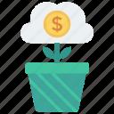 finance, growth, plant, server, storage icon