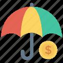 care, dollar, protection, secure, umbrella icon