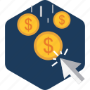 click, currency, dollar, money, pay, payment, ppc icon