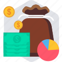 bag, baggage, fund, funds, loan, money, mutual icon