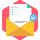 email, envlope, letter, mail, notice, notification, open icon