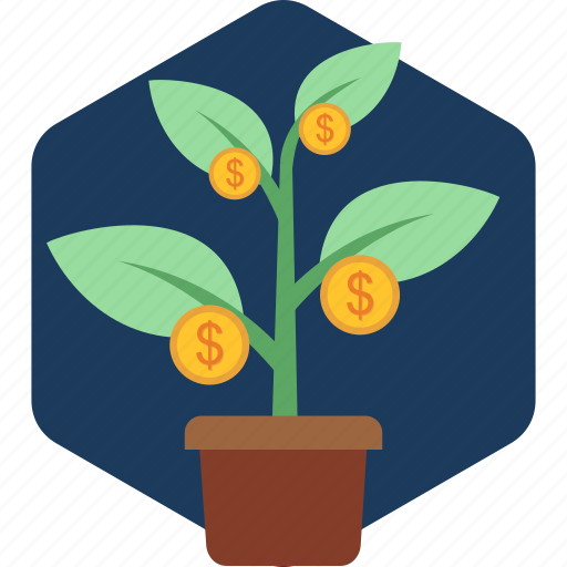 currency, growth, increase, money, plant icon
