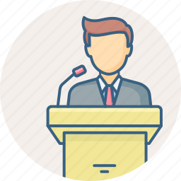 lecture, podium, speaker, speech, talk icon