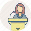 announcement, assembly, female, girl, lecture, speaker icon