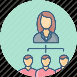 community, female, friends, invite, network, profile, structure icon