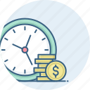 alarm, alert, bell, clock, dollar, money, value icon