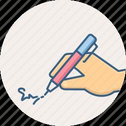 pen, pencil, sign, signature, signing, symbolism icon
