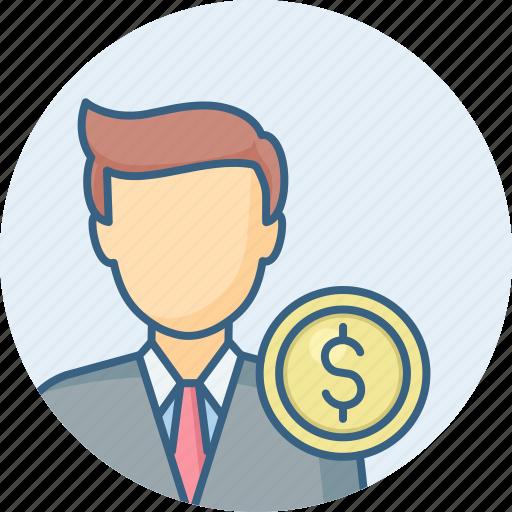 account, accountant, bank, banker, ca, employee, money icon