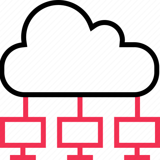 cloud, computers, server icon