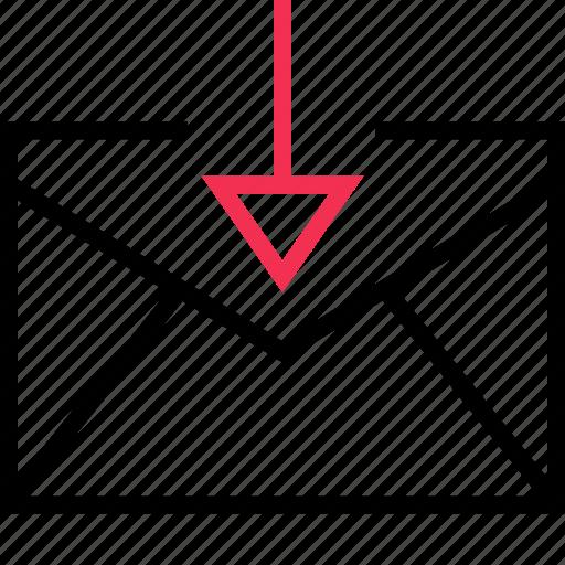 arrow, connect, dow, envelope icon