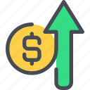 arrow, bank, business, finance, growth, money, up icon