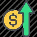 arrow, bank, business, finance, growth, money, up