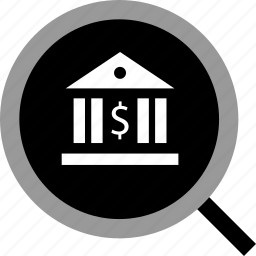 bank, banking, find, search icon