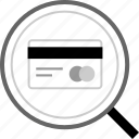 card, credit, find, search icon