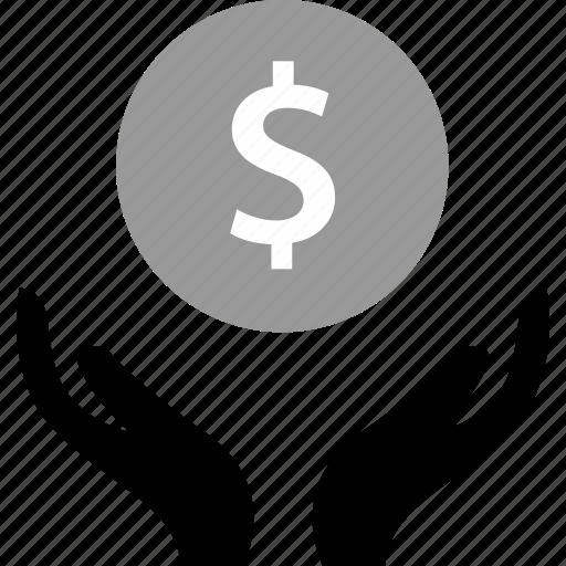 dollar, hands, money, sign icon