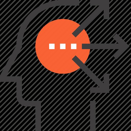 arrow, direction, head, human, idea, mind, thinking icon