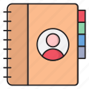 diary, contacts, library, directory, records icon