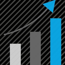 analytics, arrow, data, web icon