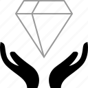 diamond, hold, transfer, wealth icon