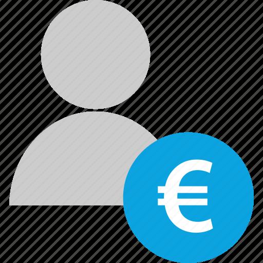 euro, finance, person, user icon