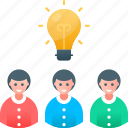 brainstorm, creative, development, idea, people, team, think icon