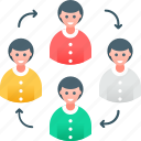 collaboration, communication, coworking, management, network, sharing, teamwork icon