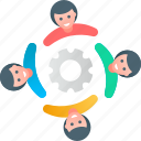 gear, network, process, support, team, teamwork, users icon