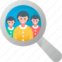 avatar, employee, find, magnifier, people, team, user icon