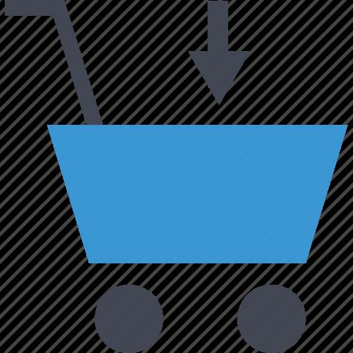 add, arrow, cart, down, shop icon