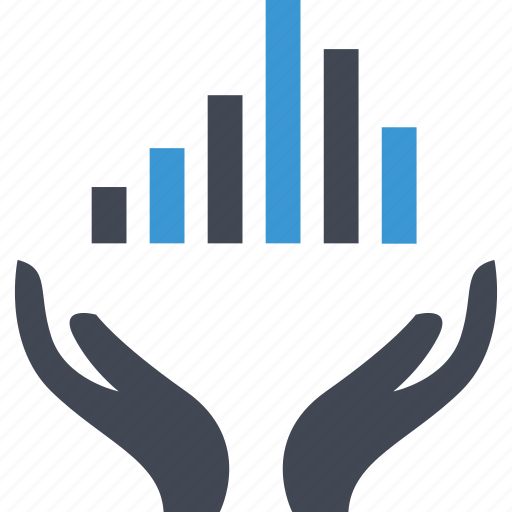 bars, business, data, hands icon